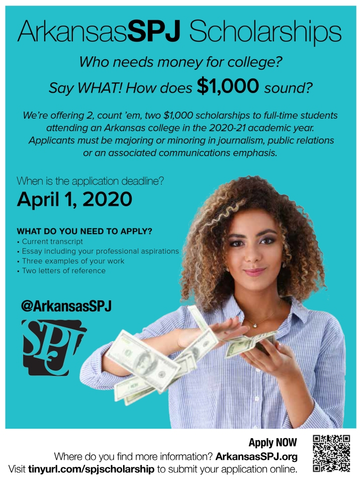 No Fooling: Arkansas SPJ offers two $1K scholarships for 2020-21 — Application deadline is April 1
